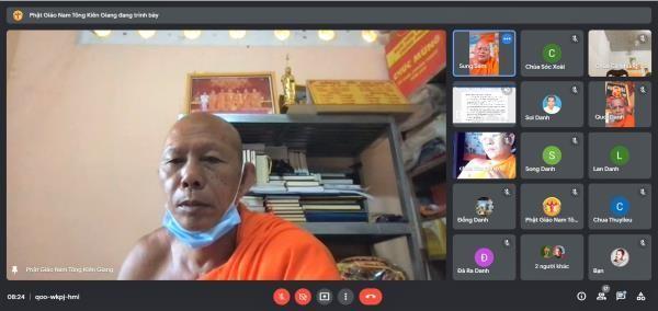 Hòa thượng Danh Đổng chủ trì họp trực tuyến của Thường trực Hội Đoàn kết Sư sãi yêu nước tỉnh Kiên Giang