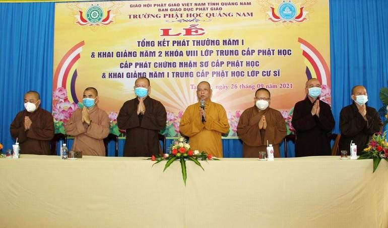 Chư tôn đức tham dự khai giảng năm học mới (2021-2022) năm học thứ 2 lớp Trung cấp Phật học khóa VIII