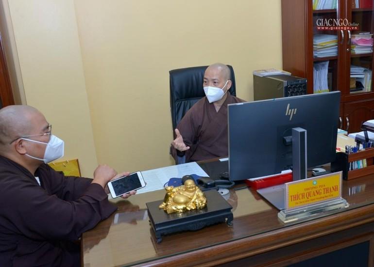 Văn phòng Ban Trị sự GHPGVN TP.HCM bắt đầu làm việc sau thời gian làm việc online phòng Covid-19