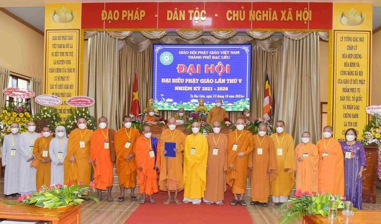 Tân Ban Trị sự Phật giáo TP.Bạc Liêu nhiệm kỳ 2021-2026 ra mắt đại hội