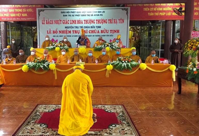 Đại đức Thích Trung Kim tân trụ trì chùa Bửu Tịnh đối trước chư tôn đức phát nguyện nhận nhiệm vụ