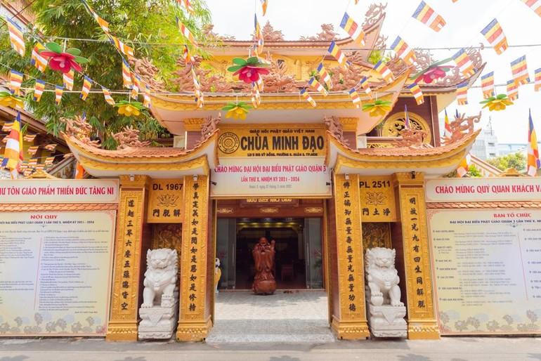 Chùa Minh Đạo nơi diễn ra Đại hội Đại biểu Phật giáo quận 3 nhiệm kỳ 2021-2026- Ảnh: Đăng Huy