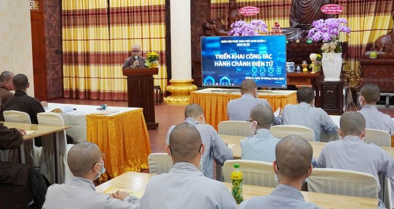 Triển khai công tác văn phòng hành chánh điện tử đến bộ phận văn phòng Phật giáo quận 3