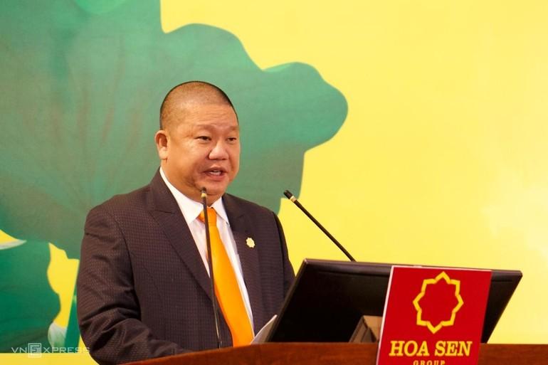 Ông Lê Phước Vũ tại phiên họp đại hội đồng cổ đông ngày 21-1 - Ảnh: Phương Đông