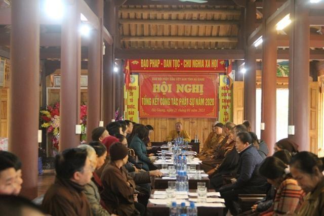Quang cảnh tổng kết hội nghị tổng kết Phật sự năm 2020 tại Hà Giang