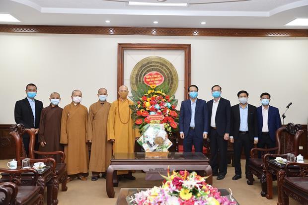 Chư tôn đức Ban Trị sự GHPGVN tỉnh Thái Nguyên chúc tết lãnh đạo UBND tỉnh