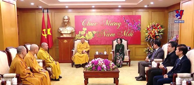 Bà Trương Thị Mai - Trưởng Ban Dân vận Trung ương tiếp Đoàn Trung ương GHPGVN