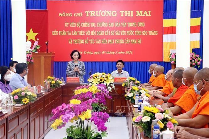 Trưởng ban Dân vận Trung ương Trương Thị Mai thăm Trường Pali Trung cấp Nam Bộ