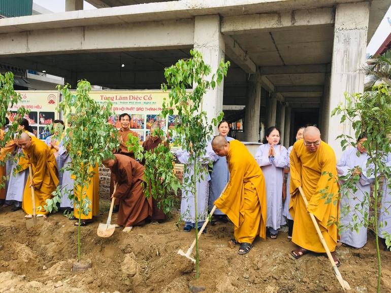 Chư Tăng trồng cây tại chùa Diệc (TP.Vinh, tỉnh Nghệ An)
