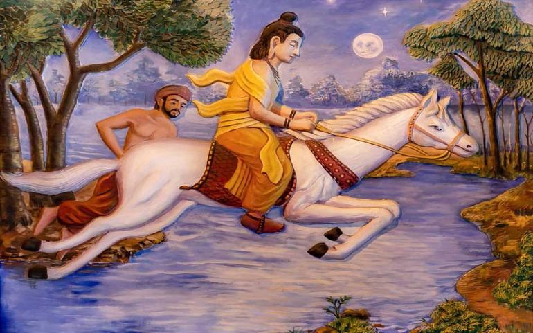 Thái tử Tất Đạt Đa cùng ngựa Kiền Trắc vượt qua dòng sông Anoma