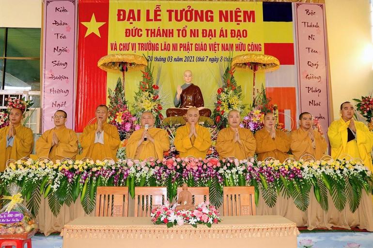 Chư tôn đức chứng minh lễ tưởng niệm Đức Thánh Tổ Kiều Đàm Di tại chùa Minh Thạnh