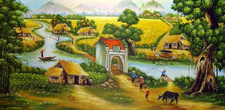 Tranh làng quê Việt Nam - Ảnh minh họa