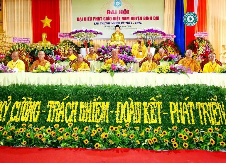 Chư tôn đức Chứng minh, Chủ tọa đoàn đại hội đại biểu Phật giáo huyện Bình Đại nhiệm kỳ 2021-2026