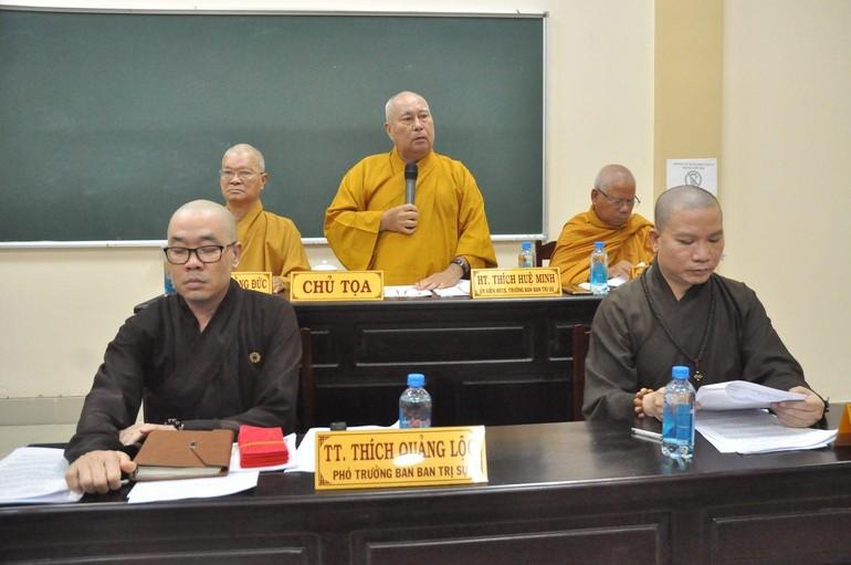 Chư tôn đức trong phiên họp triển khai công tác Phật sự của Ban Trị sự Phật giáo tỉnh Tiền Giang