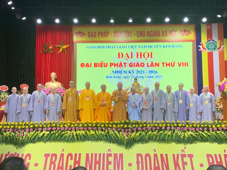 15 thành viên tân Ban Trị sự Phật giáo huyện Kim Bảng nhiệm kỳ 2021 - 2026 ra mắt đại hội