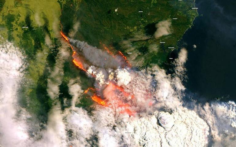 Hình ảnh vệ tinh về vụ cháy rừng ở Úc, năm 2019