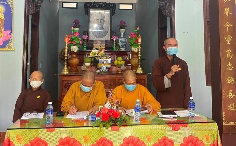 Thượng tọa Thích Như Giải, Trưởng ban Trị sự Phật giáo huyện Duy Xuyên phát biểu khai mạc
