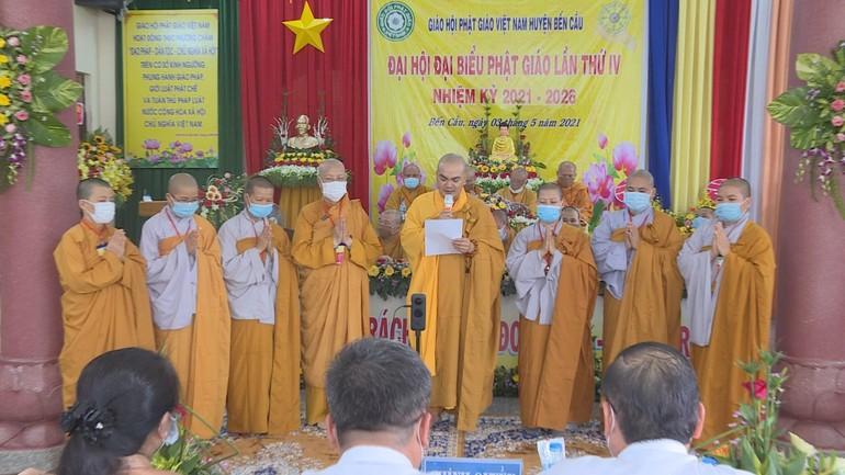 Tân Ban Trị sự Phật giáo huyện Bến Cầu nhiệm kỳ 2021 - 2026 ra mắt đại hội