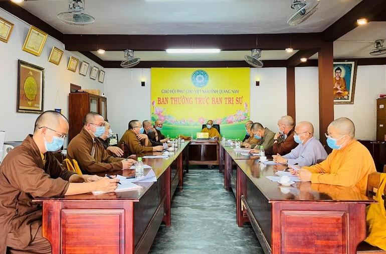 Toàn cảnh phiên họp chiều ngày 14-5 tại chùa Đạo Nguyên - Văn phòng Ban Trị sự Phật giáo tỉnh Quảng Nam