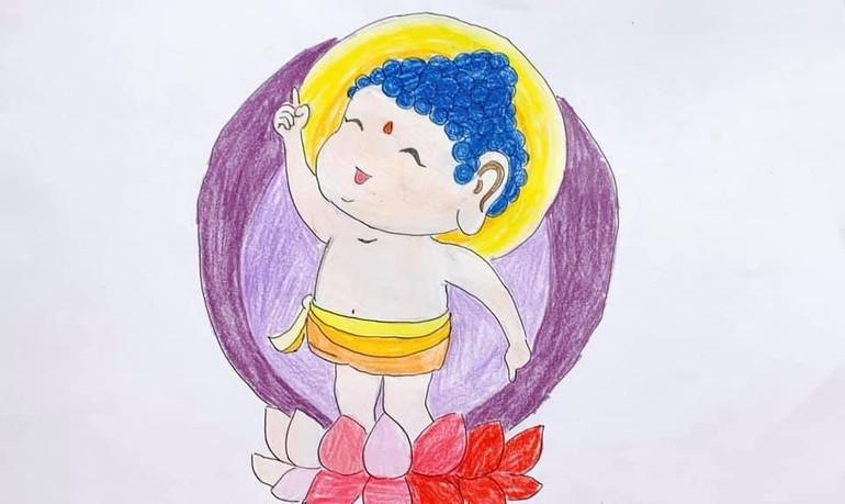 Tác phẩm Đức Phật đản sanh qua nét vẽ hồn nhiên, trong trẻo của Yến Nhi