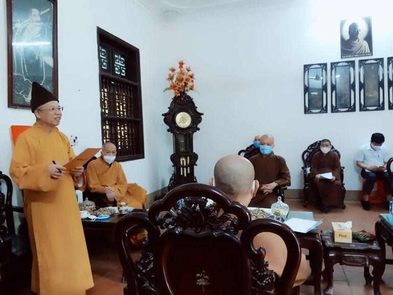 Hòa thượng Thích Thanh Quyết chủ trì phiên họp Ban Trị sự Phật giáo tỉnh Hà Nam, sáng 17-5
