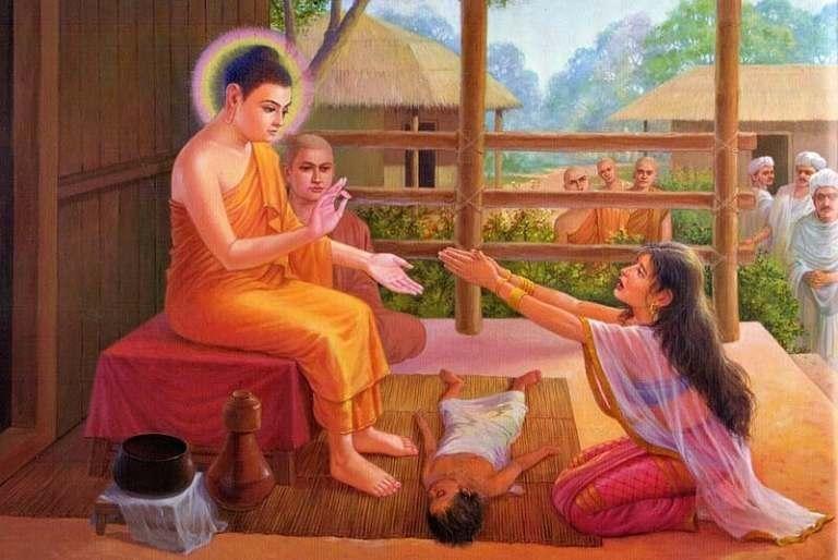 Nàng Kisa Gotami khẩn thiết xin Đức Phật cứu đứa con đã chết