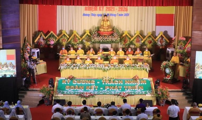 Quang cảnh Đại hội đại biểu Phật giáo thị xã Hương Thủy nhiệm kỳ 2021-2026