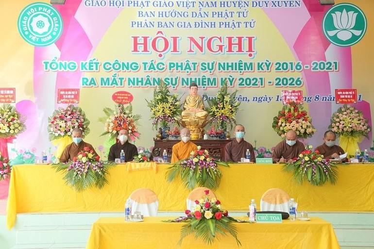 Chư tôn đức Chứng minh Hội nghị Tổng kết công tác Phật sự nhiệm kỳ 2016-2021 của Ban Hướng dẫn Phân ban Gia đình Phật tử huyện Duy Xuyên