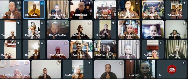 Chư tôn đức Ban Trị sự Phật giáo các huyện, thị, thành dự hội nghị trực tuyến ngày 30-9