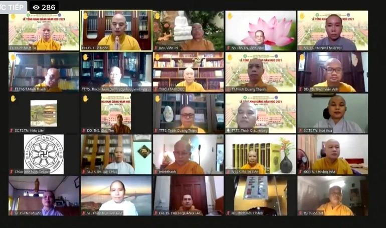 Buổi lễ tổng khai giảng năm học mới của Học viện Phật giáo VN tại TP.HCM lần đầu tiên được tổ chức trực tuyến