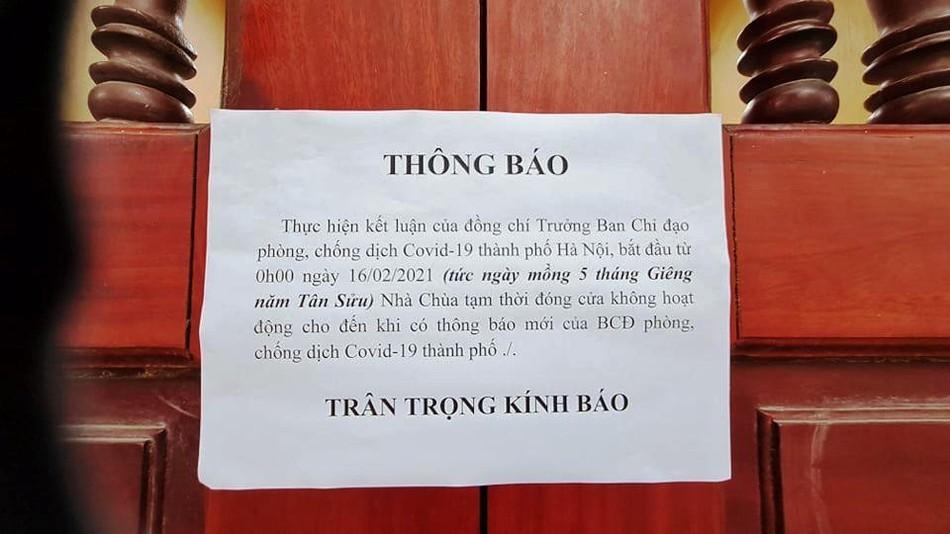 Hà Nội: Các chùa đồng loạt đóng cửa dừng hoạt động tín ngưỡng để chống dịch Covid ảnh 3