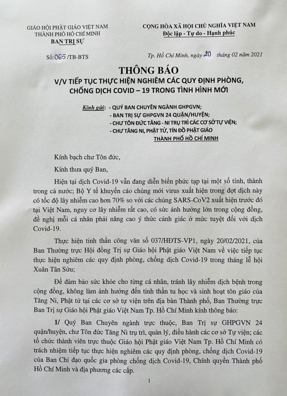 """TP.HCM: Giáo hội tiếp tục thông báo Tăng Ni, Phật tử thực hiện """"5K"""" trong tháng lễ hội xuân Tân Sửu ảnh 1"""