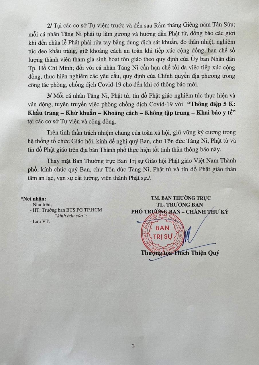 """TP.HCM: Giáo hội tiếp tục thông báo Tăng Ni, Phật tử thực hiện """"5K"""" trong tháng lễ hội xuân Tân Sửu ảnh 2"""